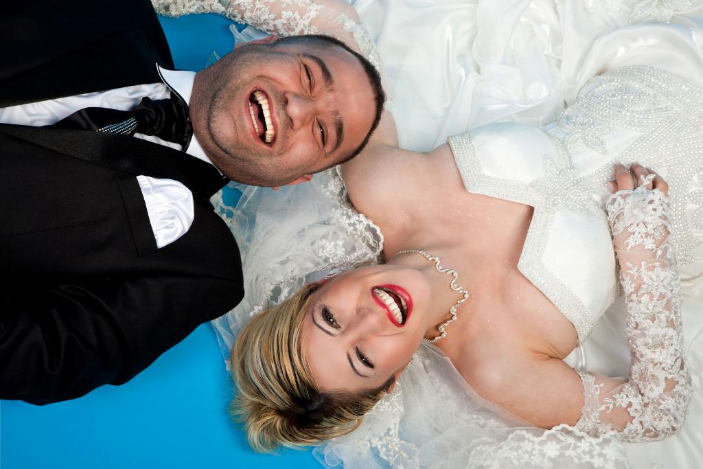 Marriage couple with wedding dress